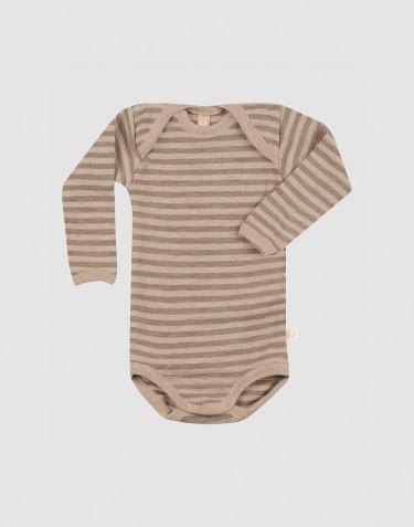 Långärmad body i merinoull för baby