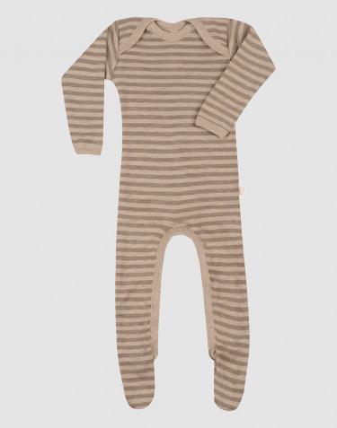 Sparkdräkt med fötter i merinoull för baby