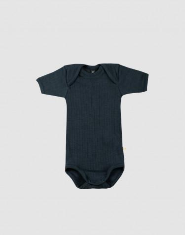 Ribbstickad body i ull med kort ärm Mörkt petroliumblå