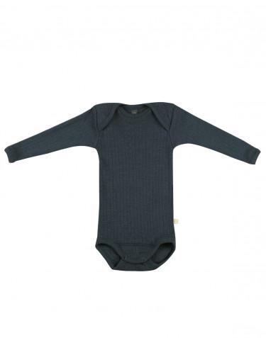 Ribbstickad ullbody för baby Mörkt petroliumblå