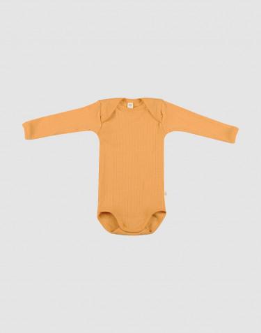 Ribbstickad ullbody för baby gul