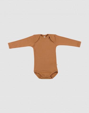 Ribbstickad ullbody för baby karamell