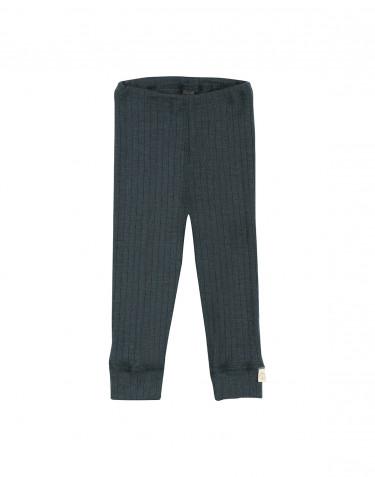 Ribbstickade leggings i ull för baby Mörkt petroliumblå