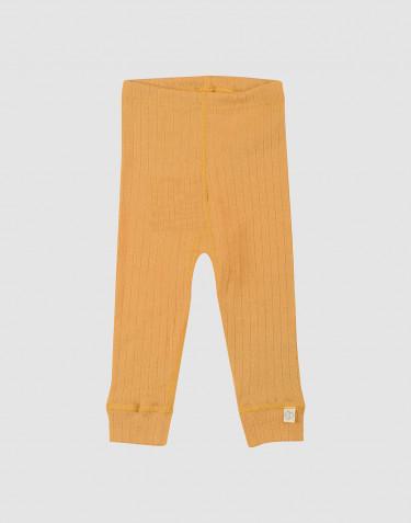 Ribbstickade leggings i ull för baby gula