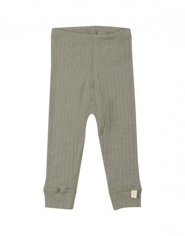 Ribbstickade leggings i ull för baby olivgrön