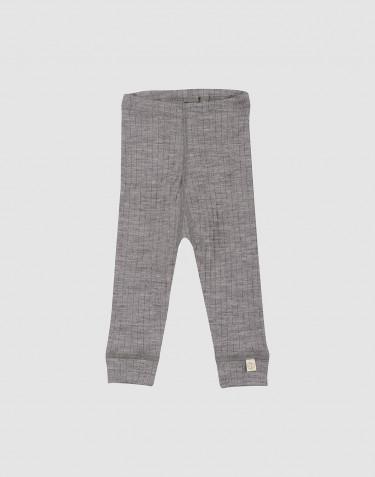 Ribbstickade leggings i ull för baby gråmelerade