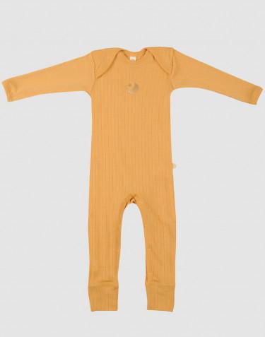 Sparkdräkt i merinoull med bred ribb gul
