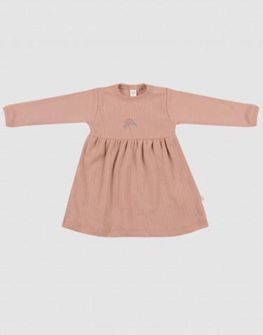 Ribbstickad klänning i ull för baby puder