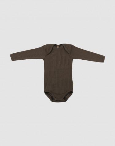 Ribbstickad ullbody för baby mörk choklad