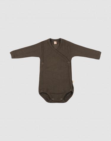 Omlottbody i ribbstickad ull för baby mörk choklad
