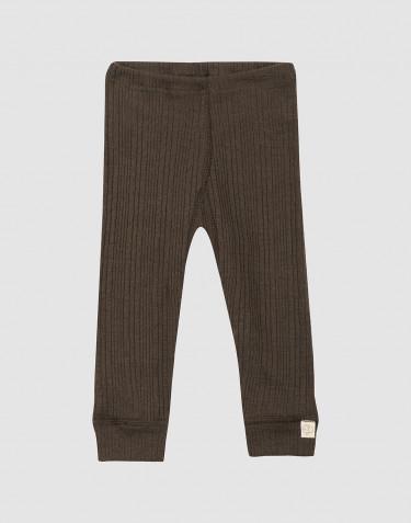 Ribbstickade leggings i ull för baby mörk choklad