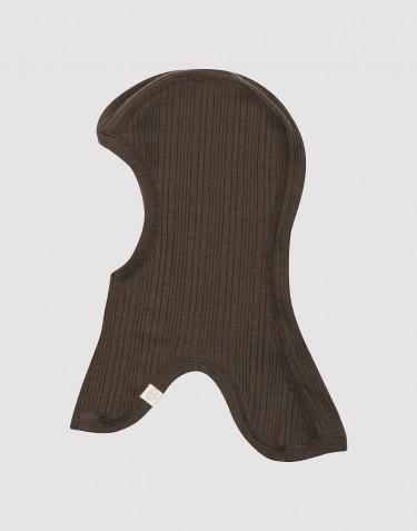 Balaclava i ribbstickad merinoull för baby mörk choklad