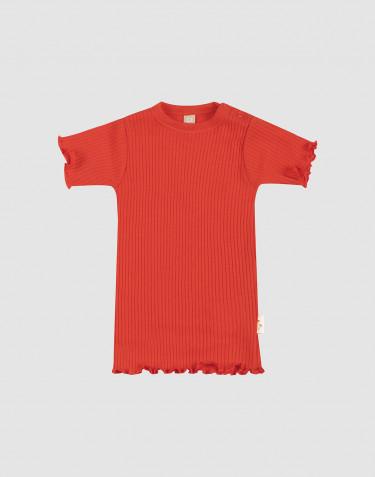 T-shirt i merinoull med krusade kanter för baby