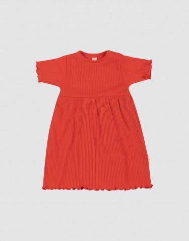 Klänning i merinoull med krusade kanter för baby
