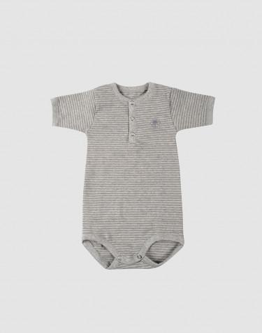 Kortärmad body för baby i ekologisk bomull randiggrårandig