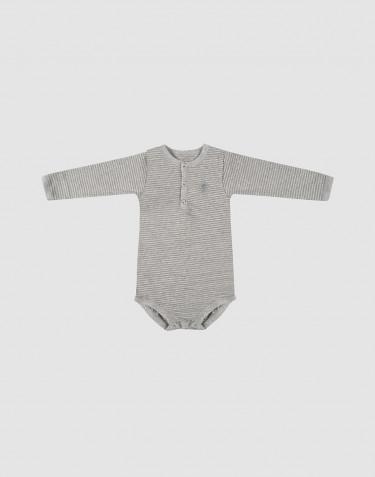 Långärmad body för baby i ekologisk bomull grårandig