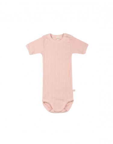 Kortärmad body för baby i ekologisk bomull rosa
