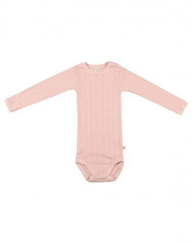 Långärmad body för baby i ekologisk bomull rosa