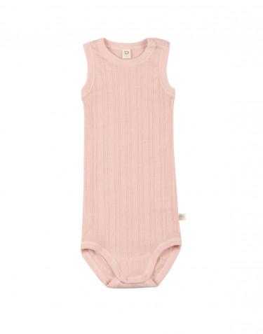 Ärmlös body för baby i ekologisk bomull rosa