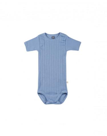 Kortärmad body för baby i ekologisk bomull blå