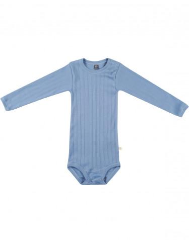 Långärmad body för baby i ekologisk bomull blå