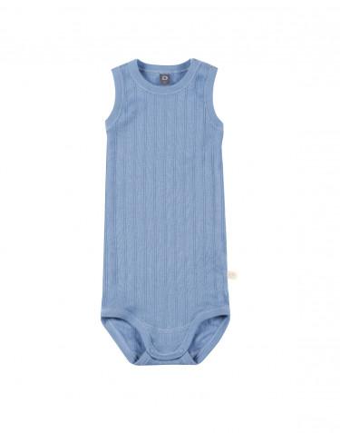 Ärmlös body för baby i ekologisk bomull blå