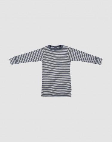 Långärmad tröja för baby i ekologisk ull/siden Blåmelerad/natur