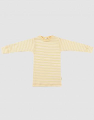 Långärmad tröja för baby i ekologisk ull/siden ljusgul/natur