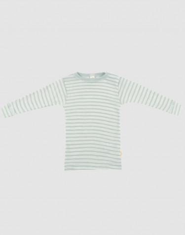Långärmad tröja för baby i ekologisk ull/siden pastellgrön/natur