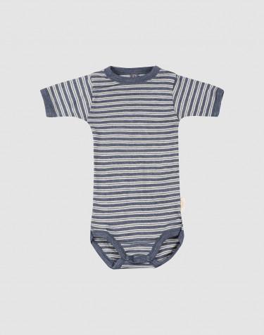 Body för baby med kort ärm i ekologisk ull/siden Blåmelerad/natur