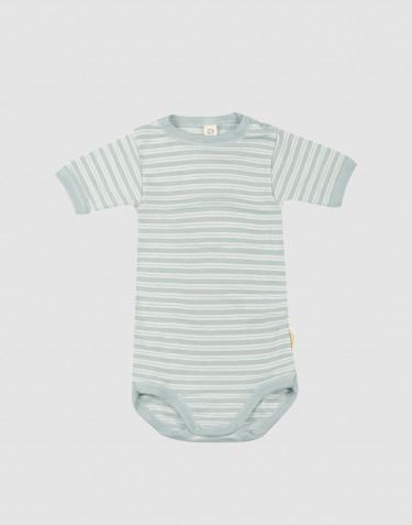 Body för baby med kort ärm i ekologisk ull/siden pastellgrön/natur
