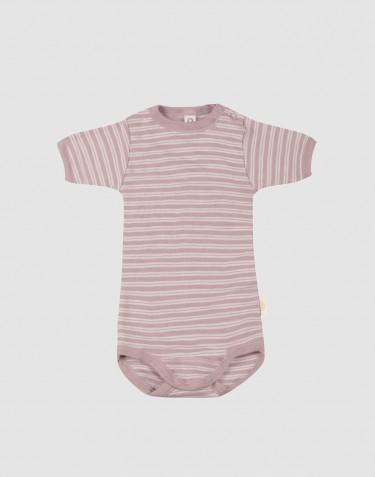 Body för baby med kort ärm i ekologisk ull/siden pastellrosa/natur