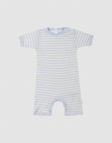 Sommardräkt för baby i ekologisk ull/siden blå/natur