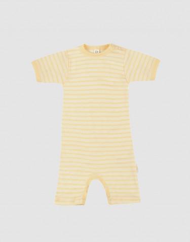 Sommardräkt för baby i ekologisk ull/siden ljusgul/natur
