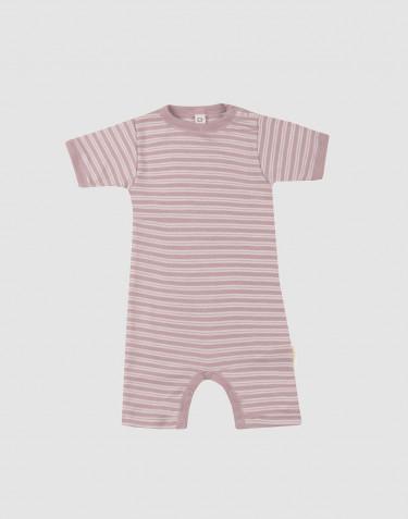 Sommardräkt för baby i ekologisk ull/siden pastellrosa/natur