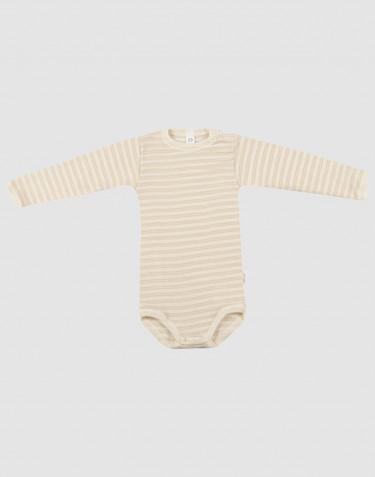 Body för baby med lång ärm i ekologisk ull/side Beige/natur