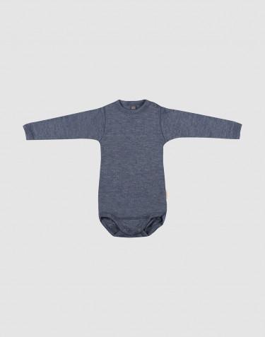 Body för baby med lång ärm i ekologisk ull/side Blåmelerad