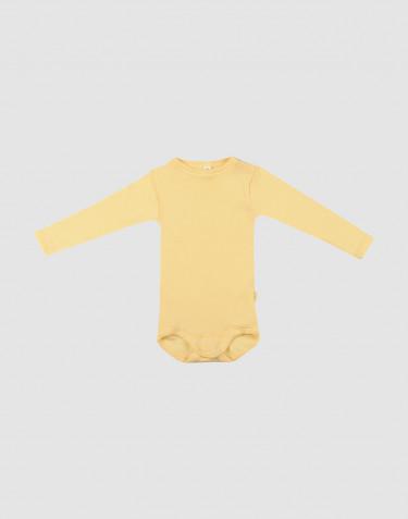 Body för baby med lång ärm i ekologisk ull/side Ljusgul