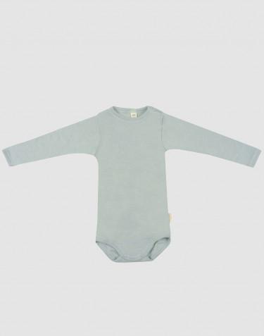 Body för baby med lång ärm i ekologisk ull/side pastellgrön