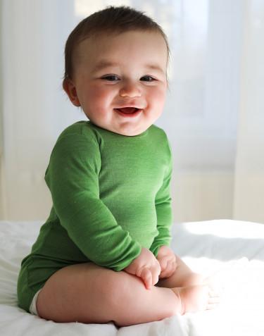 Långärmad body i merinoull/siden för baby