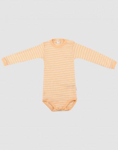 Body för baby med lång ärm i ekologisk ull/side Aprikos/natur