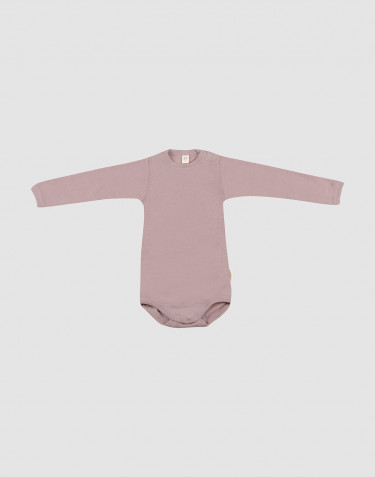 Body för baby med lång ärm i ekologisk ull/side pastellrosa