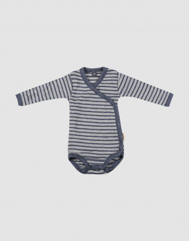 Omlottbody för baby i ekologisk ull/siden Blåmelerad/natur