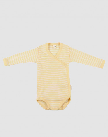 Omlottbody för baby i ekologisk ull/siden ljusgul/natur