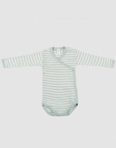Omlottbody för baby i ekologisk ull/siden pastellgrön/natur