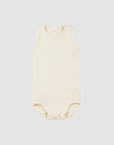 Ärmlös body för baby i ekologisk ull/siden natur