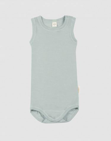 Ärmlös body för baby i ekologisk ull/siden pastellgrön