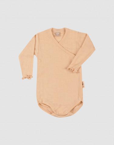 Pointelle-stickad omlottbody i merinoull/siden för baby