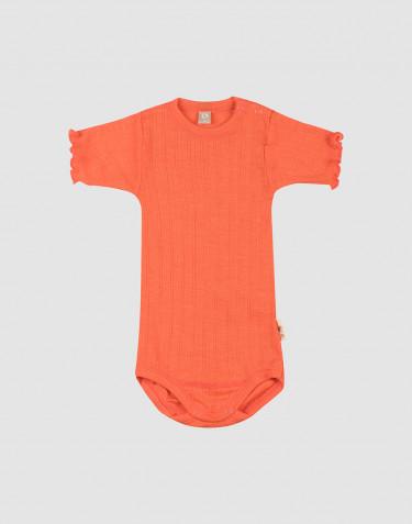 Pointelle-stickad, kortärmad body i merinoull/siden för baby