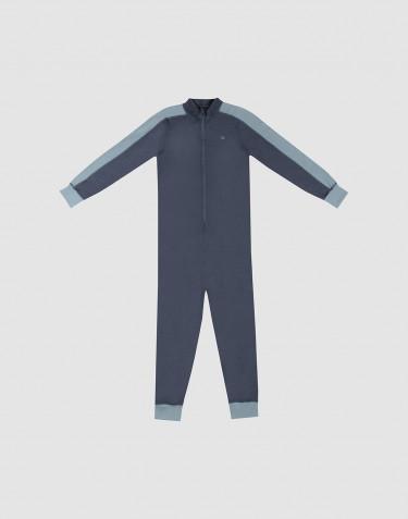 Jumpsuit för barn - exklusiv ekologisk merinoull blågrå